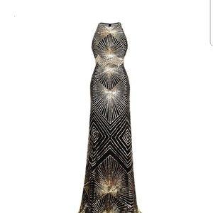 Dresses & Skirts - Gold Sequin Art Deco Evening Gown